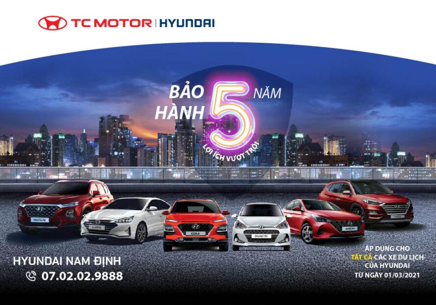 Tất cả các mẫu xe du lịch của Hyundai đều được bảo hành 5 năm